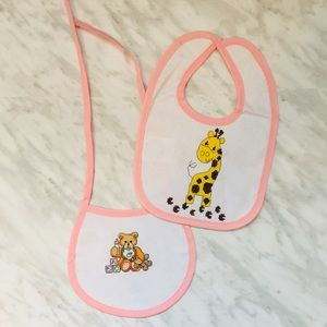 Baby bibs. Cross-stitched. Set of 2. White & Pink